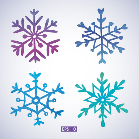 snow crystals: Set of watercolor snowflakes.