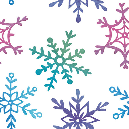 Seamless watercolor pattern with snowflakes.  Vector
