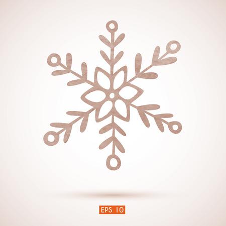 Watercolor snowflake.   Vector