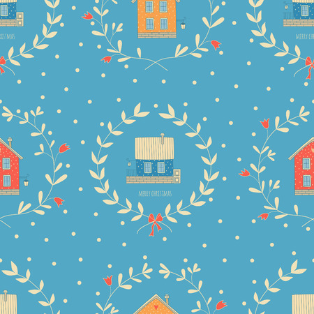 Seamless Christmas pattern with cute homes.  Illustration