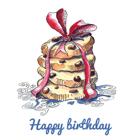 chocolate chip: Watercolor birthday card with stack of cookies.