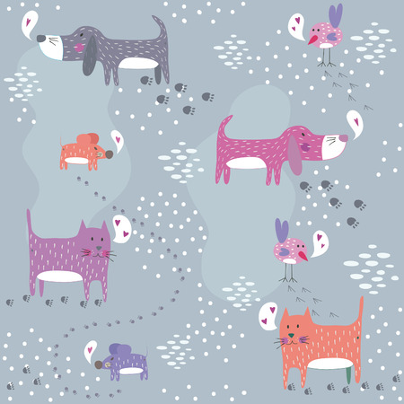 Funny seamless pattern with cute animals.   Vector