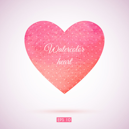 Watercolor illustration of a heart for Valentines day or wedding.  Vector