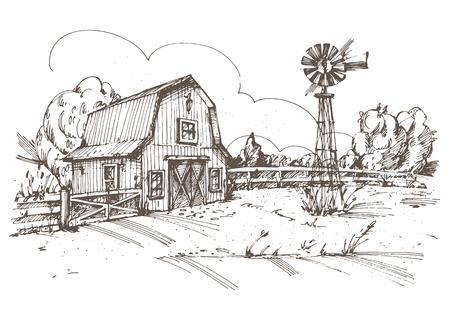molino: Dibujado a mano ilustración de granja. Vectores