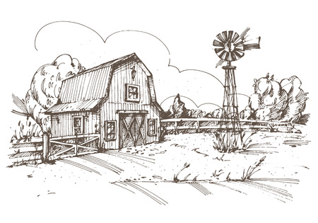 barnyard: Hand drawn illustration of farmhouse. Illustration
