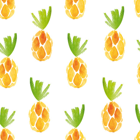 Seamless watercolor pattern with pineapples.