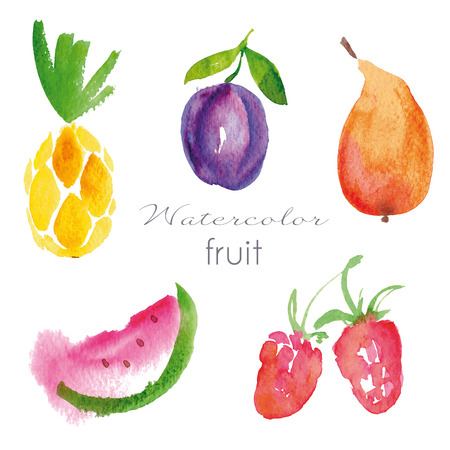 Watercolor fruit set.