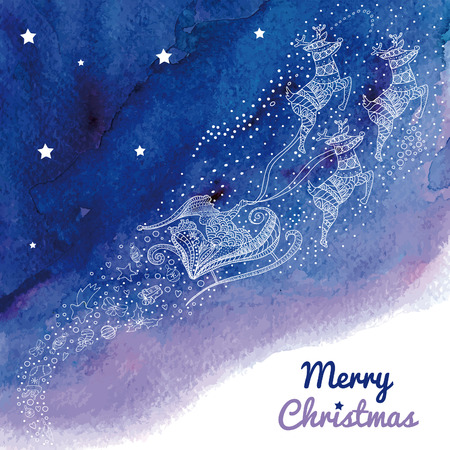 Greeting card with Santa and his reindeer in the night sky.  Vector