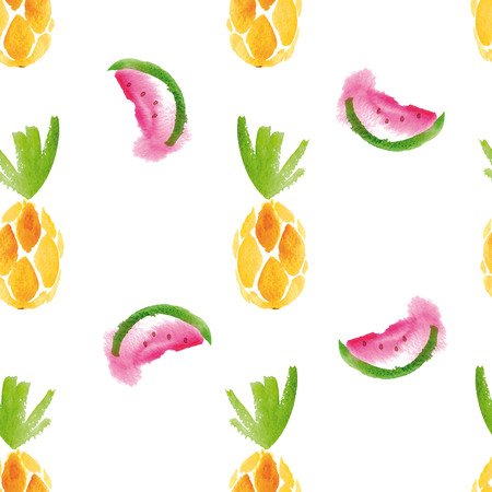 tropical leaves: Seamless watercolor pattern with pineapple and watermelon.
