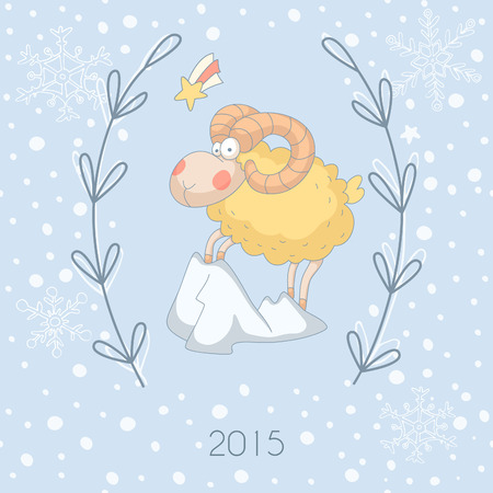 Greeting card with a sheep (Chinese New Year 2015).  Vector