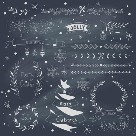 wreath set: Christmas design elements set on blackboard.  Illustration