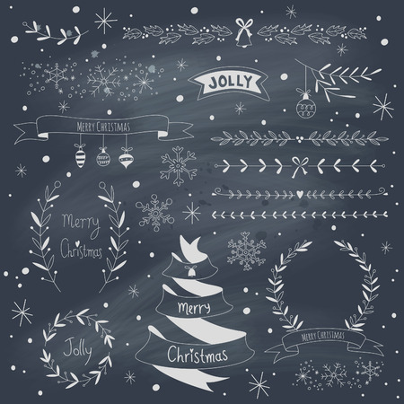 Kerstmis design elementen set op blackboard. Stock Illustratie