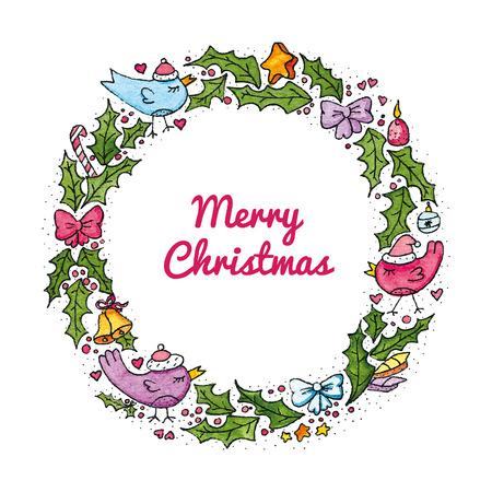 Watercolor Christmas wreath with birds. Vector