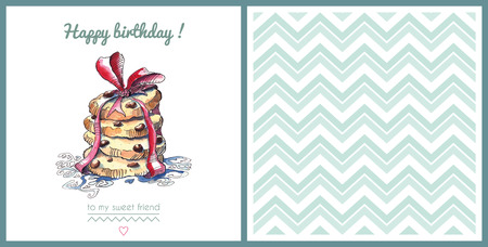Watercolor template of a birthday card. Vector