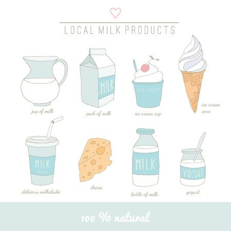 yogurt ice cream: Collection of milk doodles.