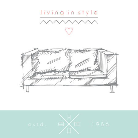 classic living room: Sketchy illustration of sofa.  No transparency. No gradients.