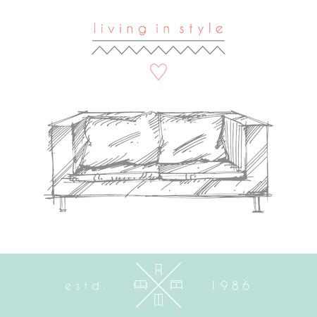 Sketchy illustration of sofa.  No transparency. No gradients.