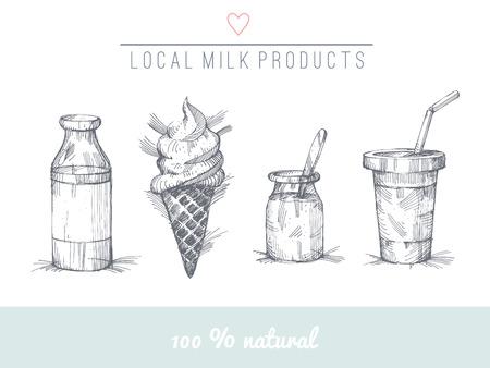 Set of hand drawn milk products.  No trnasparency. No gradients. Vector