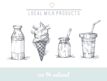 Set of hand drawn milk products.  No trnasparency. No gradients. Illustration
