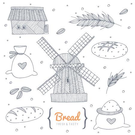 Bakery doodle set.  No transparency. No gradients. Vector