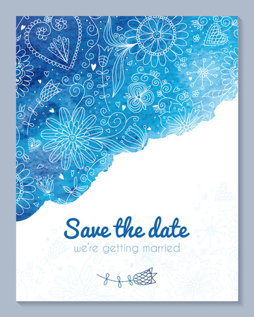 Watercolor floral wedding invitation.  No transparency. No gradients. Blend. Illustration