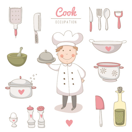 Set of kitchen utensils set with a very cute cook.  No transparency. No gradients. Illustration