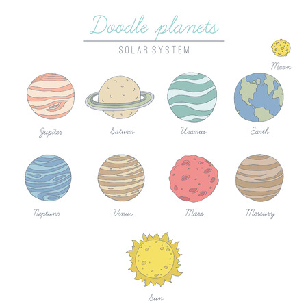 Doodle planets collection.  No transparency. No gradients.