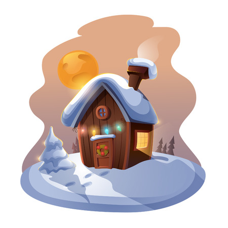 Small cute cottage with a Christmas tree in the night. EPS 10. Transparency. Gradients. Ilustração