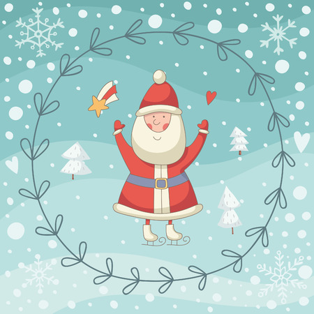 christmas costume: Christmas cartoon illustration with Santa Claus. EPS 10. No transparency. No gradients.