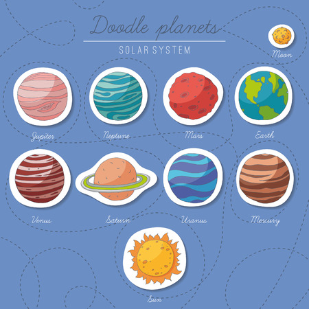 Set of doodle planet stickers. EPS 10. No trasparency. No gradients. Vector