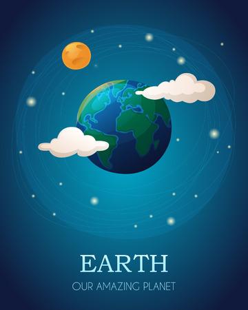 Illustrazione della Terra con la Luna e le nuvole. EPS 10. Trasparenza. Sfumature. Archivio Fotografico - 32985840