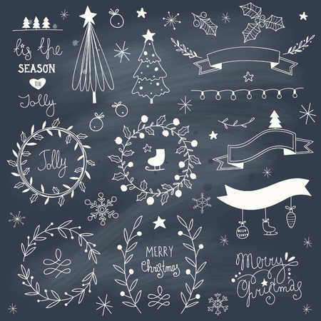 Set of hand drawn Christmas elements on blackboard. EPS 10. Transparency. No gradients. Ilustração