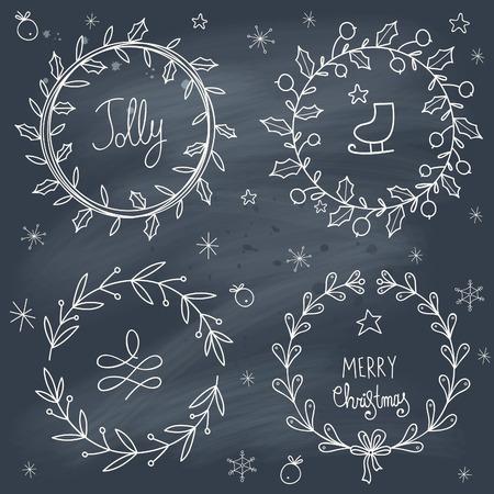 christmas wreaths: Christmas wreaths set on blackboard. Transparency. No gradients.