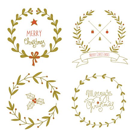 christmas wreaths: Christmas wreaths set. No transparency. No gradients.