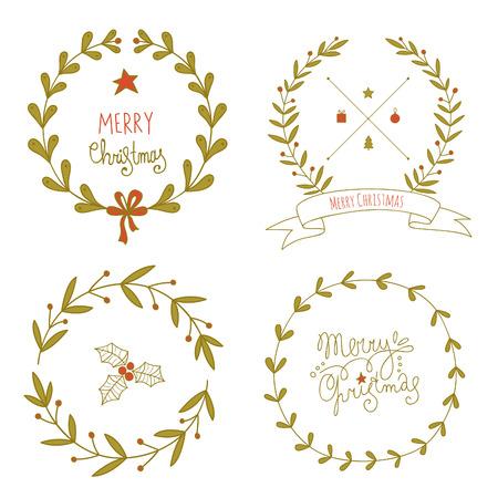 coronas de navidad: Guirnaldas de Navidad conjunto. No hay transparencia. No hay gradientes. Vectores