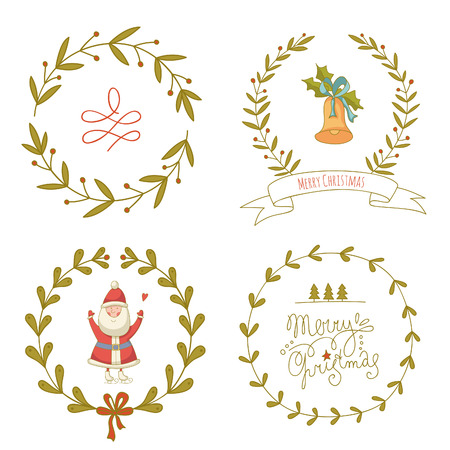 Christmas wreaths set with Santa Claus and Christmas bell. EPS 10. No transparency. No gradients. Vector