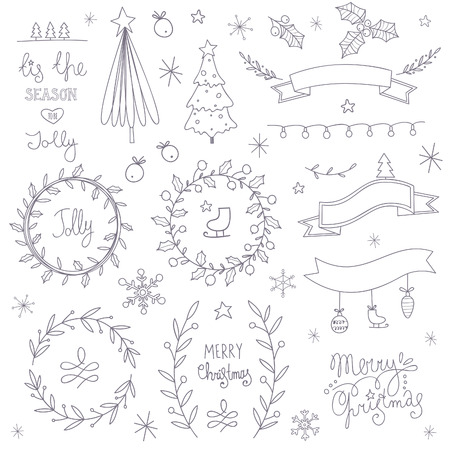 Set of hand drawn Christmas elements.  No transparency. No gradients. Vector