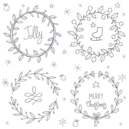 christmas wreaths: Christmas wreaths set.