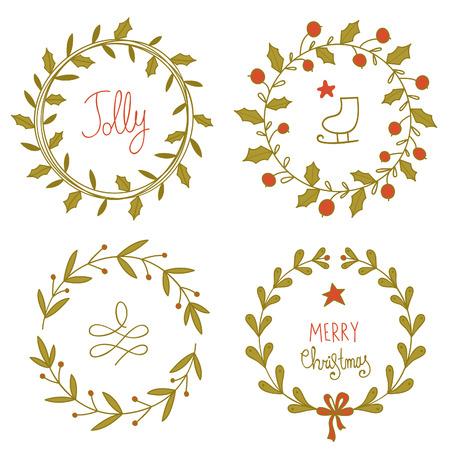 coronas de navidad: Guirnaldas de Navidad conjunto. EPS 10. No hay transparencia. No hay gradientes. Vectores