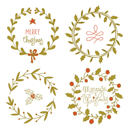 Christmas wreaths set. No transparency. No gradients. Vector