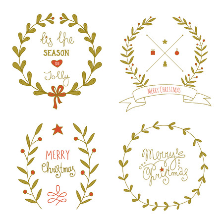 Christmas wreaths set with greeting messages. No transparency. No gradients. Vector
