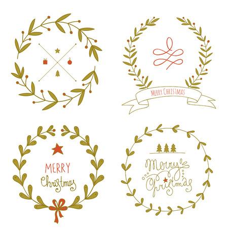 coronas de navidad: Guirnaldas de Navidad conjunto con mensajes de felicitación. No hay transparencia. No hay gradientes.