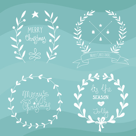 Christmas design elements and lettering.No transparency. No gradients. Vector
