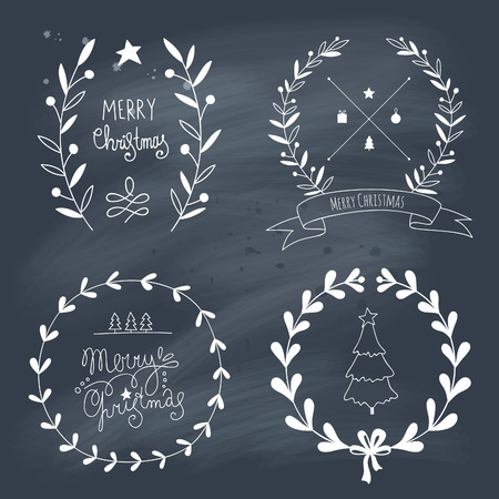 Christmas design elements and lettering.Transparency. No gradietns. Vector