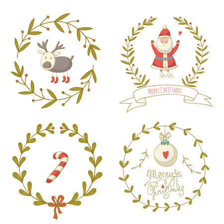 Christmas wreaths set with Santa Claus and and other decoration elements. No transparency. No gradients. Vector