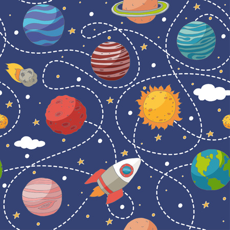 Seamless pattern with planets and the sun. Transparency. No gradients.