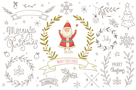 Set of hand drawn Christmas elements with Santa Claus. EPS 10. No transparency. No gradients. Vector