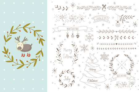 Set of hand drawn Christmas elements with a reindeer. EPS 10. No transparency. No gradients.