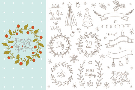 Set of hand drawn Christmas elements. EPS 10. No transparency. No gradients. Illustration