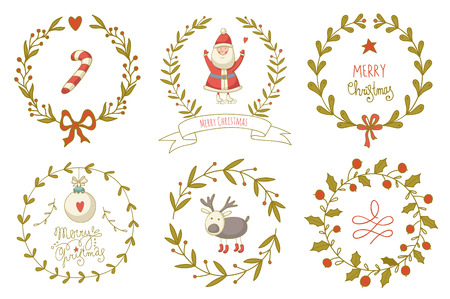 サンタ クロースとクリスマスの花輪の設定、およびその他の装飾要素。EPS 10。透明度なし。グラデーション。  イラスト・ベクター素材